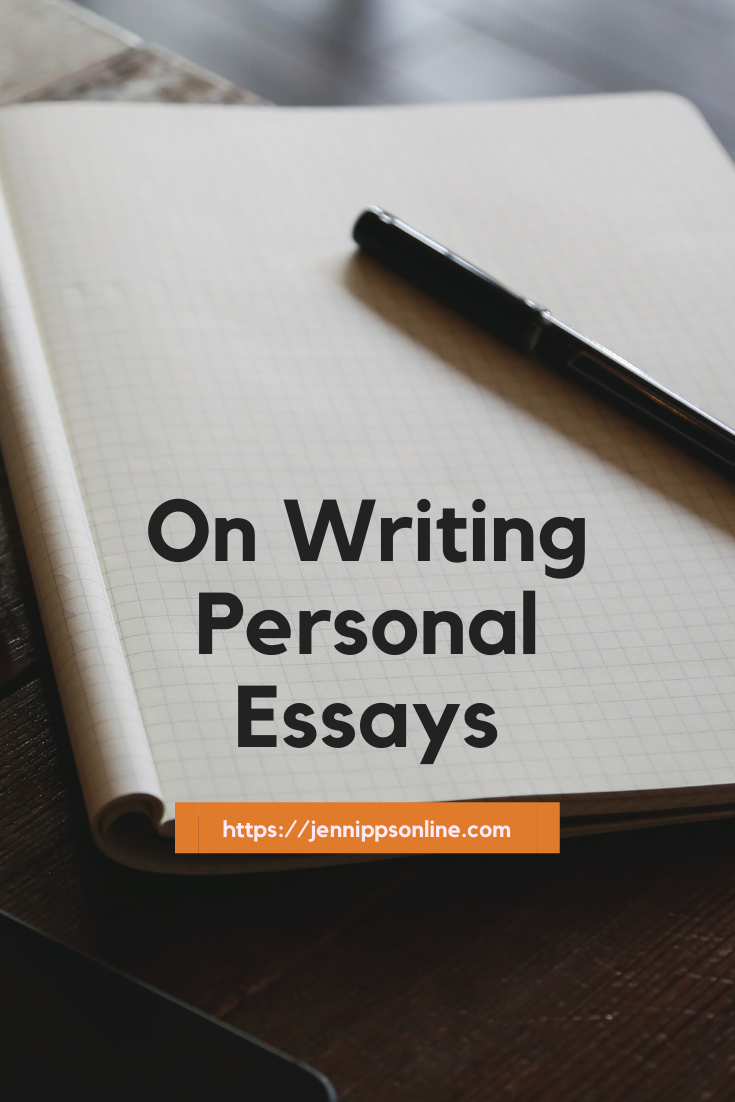 "Pinterest image: NOtebook with a pen with the words On Writing Personal Essays"" over the image"