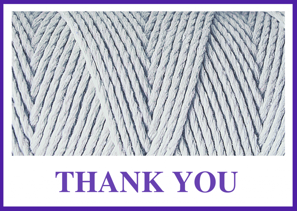 "Thank[you image with a close up of gray yarn. The image has a purple border and purple ""thank you."""