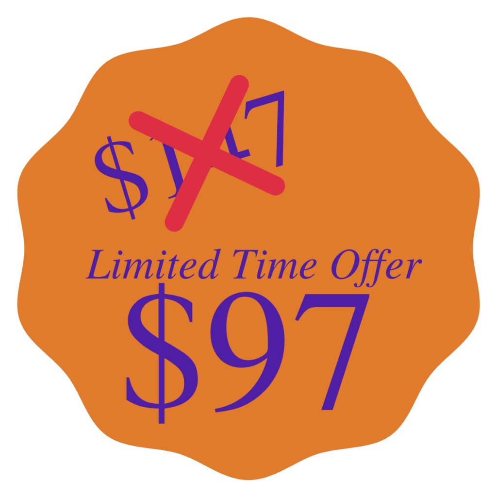 Sale sticker with orange background and purple text. Limited Time Offer $97